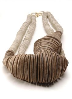 Necklace |  Silke Spitzer.  18kt Gold, Wood and Natural Rubber