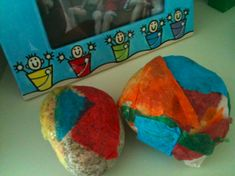 Planetpals Craft Page: Directions for natural beach rocks covered in recycled tissue paper gift wrap #nature #crafts