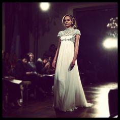 Cap sleeves at #jennypackham #bridal #weddingdress #wedding #bridalfashionweek #bridalmarket