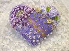 Crazy+quilt++pin+with+beautiful+vintage+metallic+by+GlosterQueen,+$37.00