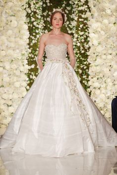 Full wedding gown from Reem Acra bridal week show: http://www.stylemepretty.com/2014/10/16/favorites-from-bridal-week-fall-2015/