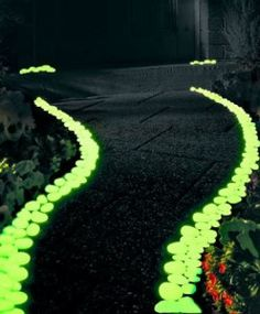 Glow-in-the-dark pebble path