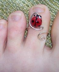 Ladybug toe ring