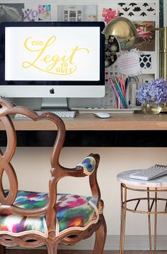 Watercolor inspired fabric on the desk chair & bright accessories make this a stylish & fun workspace.