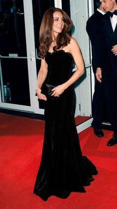 Duchess Kate's Happiest Holiday Look | A Black Velvet Alexander McQueen Gown