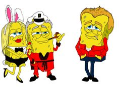 mike frederiqo x sponge bob x hugh hef x james dean