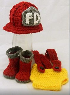 $45 for Crochet Newborn Fireman set.  Can be made in your choice of colors and initials on the hat. So Cute!!