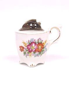 vintage cigarette lighter teacup. etsy.