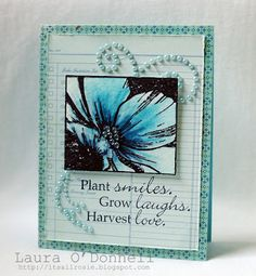 This card in one word: STUNNING! Laura created it with the Carefree Cosmo stamp set from TechniqueTuesday.com. Sure love how she put the flower over the swirl of pearls.