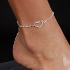 Nice Diamante Rhinestone Hollow Love Heart Anklet Ankle Bracelet