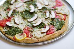 vegan pesto ricotta pizza