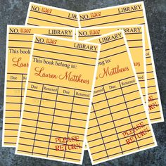 I love these book plates that look like library check out cards