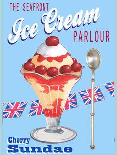 New Retro Cherry Sundae Ice cream # 24 Vintage Style Metal Wall Plaque Sign | eBay