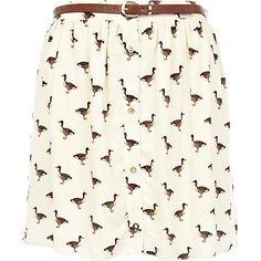 Cream duck print button up mini skirt