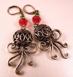 Christmas Earrings Christmas Jewelry Christmas by bluerosebeadery, $14.00