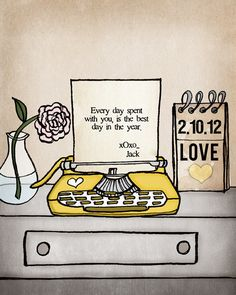 Customize Your Own Typewriter Message & choose your color. $40.00, via Etsy.
