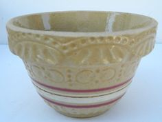 Vintage Yellow Ware small pottery bowl