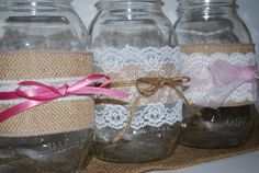 masons, craft, jar decor, jar burlap, wedding decorations, burlap lace, lace mason, mason jars, sleeves