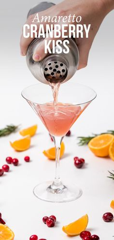 Amaretto Cranberry Kiss - Thanksgiving.com #cocktails #partyrecipes