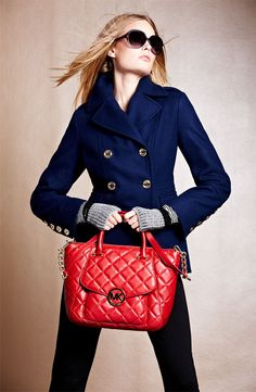Night Out: MICHAEL Michael Kors Peacoat, Pants & Tote #Nordstrom #Holiday