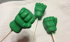 If you think your superhero party can't be incredible, think again! These Incredible Hulk cake pops are sure to have your party guests of all ages in awe. Learn how to make these heroic cake pops in just a few easy steps. These green fists will help lead all superheroes to party victory!