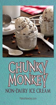 Super-easy gluten-free recipe for Ben  Jerry's fans. Made with coconut milk, bananas, pecans, dark chocolate mini-chips, and sweetened with raw honey! #food #paleo #grainfree #glutenfree #dairyfree #dessert #icecream #chunkymonkey