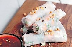 Prawn and mint finger rolls
