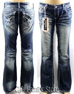 Amethyst Low Rise Boot Cut Rhinestone Jeans $36.99