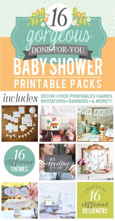 Baby Shower Printable Pack Bundle - over 400 pages of ready-to-print party decor, invites, etc in 16 adorable themes!