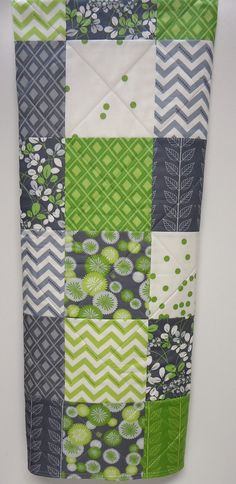 Baby Quilt Modern Crib Quilt in greens and grays