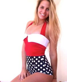 Modest Swimsuit-Vinatge inspiration- Red with Polka dots. $60.00, via Etsy.