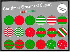christmas ornament clipart, red, green, holiday clip art