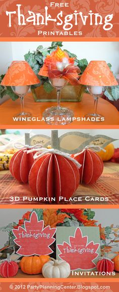 Free Thanksgiving and fall printables: wineglass lampshade, 3D pumpkins and invitation