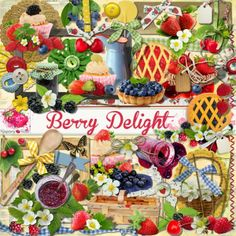 A mixed berry themed scrapbook kit from Raspberry Road Designs.