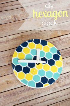 DIY Hexagon Wall Clock     View From The Fridge
