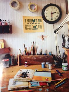 Oliver Jeffers incredible work space...