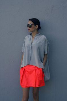 French Voguettes fashion, skirts, colors, neon, outfit, oranges, grey, diane von furstenberg, shirt