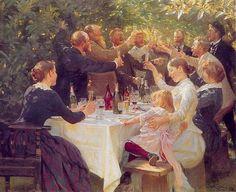 """""""Hip, hip, hurra! Kunstnerfest på Skagen"""" (1888), Peder Severin Krøyer (1851–1909)."""