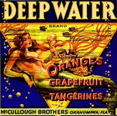 Okahumpka Florida Deep Water Mermaid Orange Citrus Fruit Crate Box Label Art Print. $9.99, via Etsy. water mermaid, fruit crate, crate label, florida, orang fruit, art prints, label art, crates, deep water