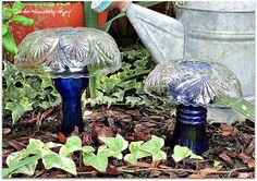 Cobalt Glass Mushroom Garden Whimsies Pair by GardenWhimsiesByMary