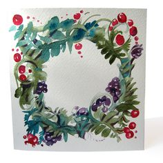 Christmas Wreath. Hand made watercolor card. --- Oh, jingle bells, jingle bells  Jingle all the way  Oh, what fun it is to ride  In a one horse open sleigh ---