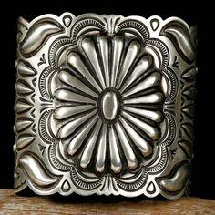 """Silver Gatoh"" Cuff by Navajo Silversmith, Arnold Blackgoat"
