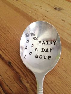 Rainy Day Soup Spoon  Hand Stamped by ForSuchATimeDesigns