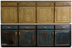 distressing and antiquing furniture - teal and black