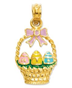 Crafted in 14k gold, this Easter pendant design features a pastel enamel highlights and three vibrant Easter eggs.