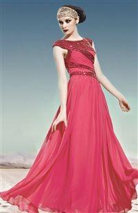 Contrast Sequin Bodice Maxi Evening Dress