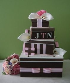 Wedding Card Box  Staggered boxes to look like gifts on top of each other with slit in big one.  Cute