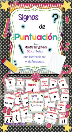 Signos de puntuacion : A 30-page pack of punctuation posters in spanish. Great visual display in for bilingual and dual language classrooms.
