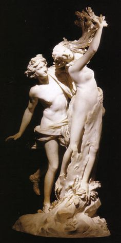 Bernini sculpture in the Borghese Gallery, Rome. Apollo has just caught up to Daphne, who cries out to her father for rescue; she's transformed into a dryad, and is shown turning into a tree. This sculpture is ALIVE.