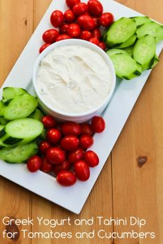 Greek Yogurt and Tahini Dip for Tomatoes and Cucumbers (plus 10 More Healthy Vegetable Dips).  This post is for everyone who's trying to make it through December without gaining ten pounds!  [from Kalyn's Kitchen] #HealthyHolidays